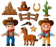 Cowboy e cowgirl del fumetto con gli elementi ad ovest selvaggi illustrazione vettoriale