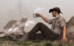 Cowboy e puma illustrazione di stock
