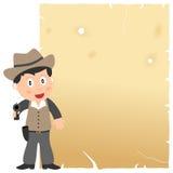 Cowboy e vecchia pergamena Immagine Stock Libera da Diritti