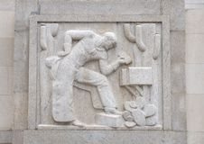 `Cowboy` by Edmond Amateis, Robert N.C. Nix, Sr. Federal Building & Post Office. Pictured is a granite relief sculpture, `Cowboy`, by Edmond Amateis on the South royalty free stock images
