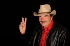 Cowboy effectuant le signe de victoire images libres de droits