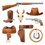 Cowboy Elements Set Stock Images