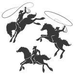 Cowboy Emblem Set del rodeo illustrazione vettoriale