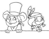 Cowboy en Indisch meisje royalty-vrije illustratie