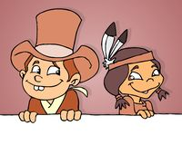 Cowboy en Indisch meisje stock illustratie