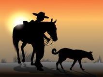 Cowboy en schaduw stock illustratie