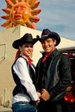 Cowboy en veedrijfster stock fotografie