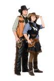 Cowboy en veedrijfster Stock Afbeeldingen