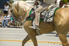 Cowboy espagnol à cheval pendant le défilé vers le bas State Street, Santa Barbara, CA, vieille fiesta espagnole de jours, 3-7 ao Photographie stock