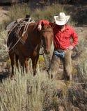 Cowboy et cheval Image libre de droits