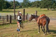 Cowboy et son cheval Photographie stock