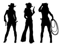 Cowboy för tre flickor stock illustrationer