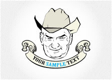Cowboy face label. In  style Royalty Free Stock Photography