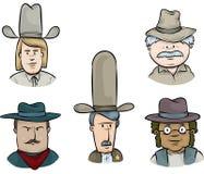 Cowboy Face Set Royalty Free Stock Photos