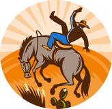 Cowboy falling horse in desert Stock Photography