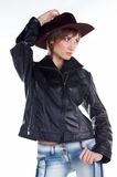Cowboy fashion. Model in cowboy style looking aside Royalty Free Stock Photo