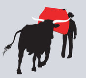 Cowboy  Fighting with  Bull. Silhouette of Cowboy  Fighting with  Bull Stock Photography