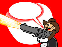 A cowboy firing a gun with speech bubble Stock Image