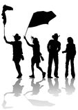 Cowboy at flag. Drawing of people in cowboy hats. Silhouettes on white background Stock Photography