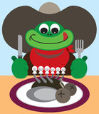 Cowboy Frog. Preparing to dine on gourmet prepared fly Stock Images
