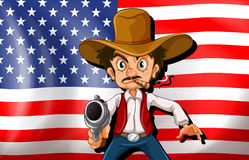 A cowboy in front of the USA flag Stock Photo