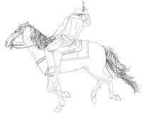 Cowboy, galoppante sul horseback con un revolver Fotografie Stock