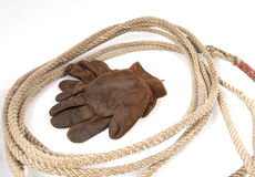 Cowboy gear. Rancher equipment, rope Stock Photos