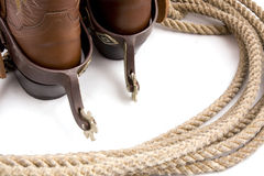 Cowboy gear. Western riding equipment, spurs and rope Royalty Free Stock Image