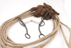 Cowboy gear. Western riding equipment, bit and rope Royalty Free Stock Photography