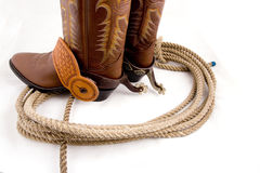 Cowboy gear. Western riding equipment, spurs and rope Stock Photos