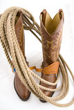 Cowboy gear. Western riding equipment, boots Stock Image