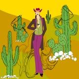 Cowboy girl. Cowboy, cactus, rope, stone, girl Royalty Free Stock Photography