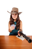 Cowboy girl with gun isolated Royalty Free Stock Photo