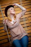 Cowboy girl in hat Stock Photo