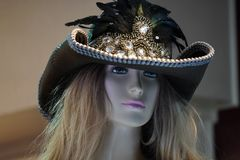 Cowboy girl hat mannequin stock images