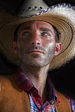 Cowboy Glances. A cowboy glances to his right Royalty Free Stock Image