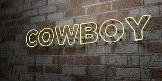 COWBOY - Gloeiend Neonteken op metselwerkmuur - 3D teruggegeven royalty vrije voorraadillustratie Stock Foto