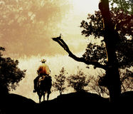Cowboy in golden hills. A cowboy riding in the golden hills mountains royalty free illustration