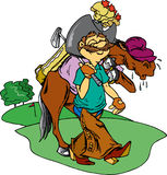 Cowboy Golfer. Cowboy playing golf with horse caddy Stock Photography