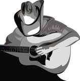 Cowboy and guitar. Isolated on the white background Stock Photos