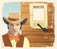 Cowboy and gun. Grunge Stock Photo