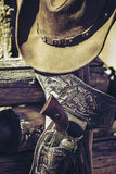 Cowboy gun and hat outdoor Stock Photo