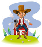 A cowboy with a gun. Illustration of a cowboy with a gun on a white background Royalty Free Stock Photography
