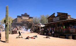 Cowboy Gunfighters at Goldfield Ghost Town Stock Photography
