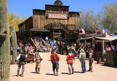 Cowboy Gunfighters at Goldfield Ghost Town Royalty Free Stock Images
