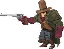 Cowboy gunman with pistol. Illustration of cool mean looking cowboy gunman with pistol Stock Image