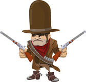 Cowboy gunman with rifles. Illustration of cool mean looking cowboy gunman with rifles Royalty Free Stock Photography