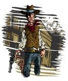 Cowboy gunslinger draws his six shooter Stock Photo