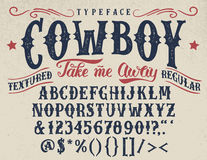 Free Cowboy Handcrafted Retro Textured Typeface Stock Images - 89997514