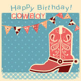 Cowboy happy birthday card with cowboy shoe.Vector child card Stock Images